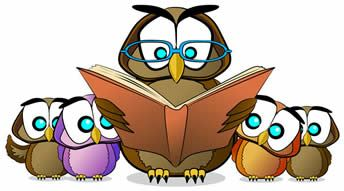 Storytime Toddler Time illustration depicting big owl reading to baby owls