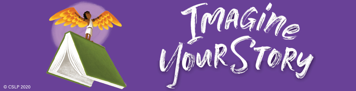 "A purple background with the text ""Imagine Your Story: and an illustration of a person with brown skin and golden wings on top of an open green book."