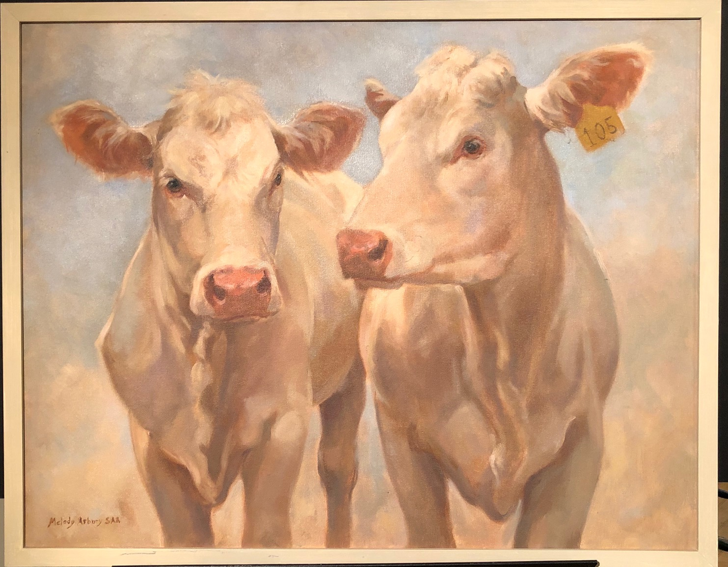 A painting of two white cows