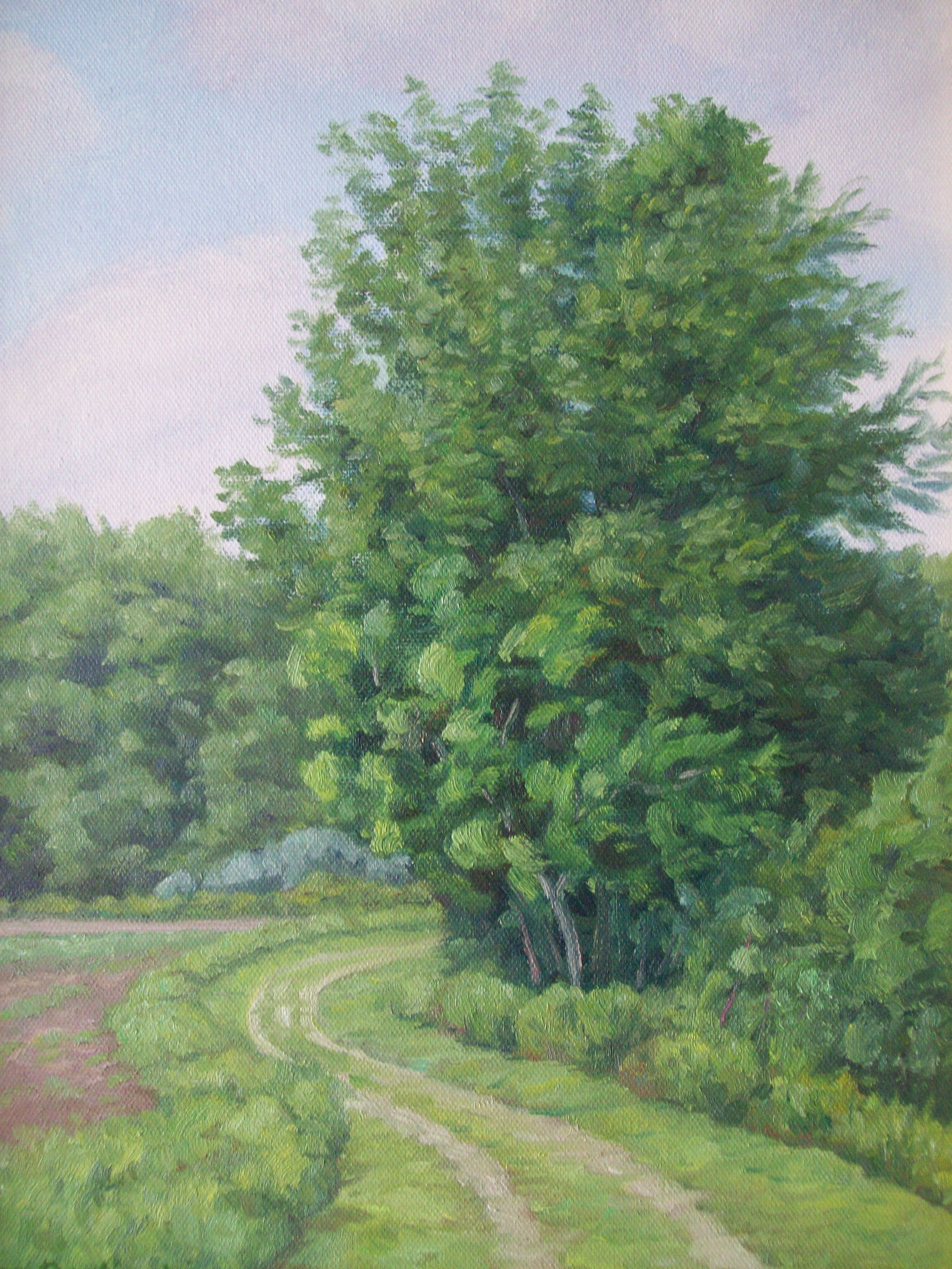 A painting of a tree next to dirt paths