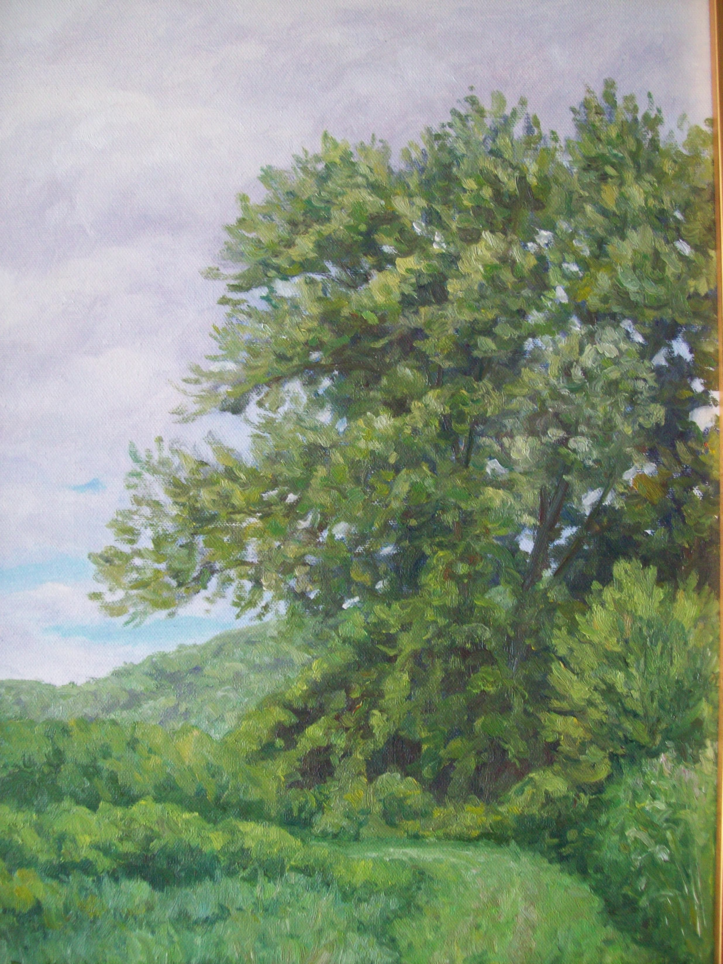 A painting of a tree in a meadow