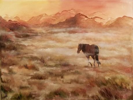 An oil painting titled Spirit of the Land