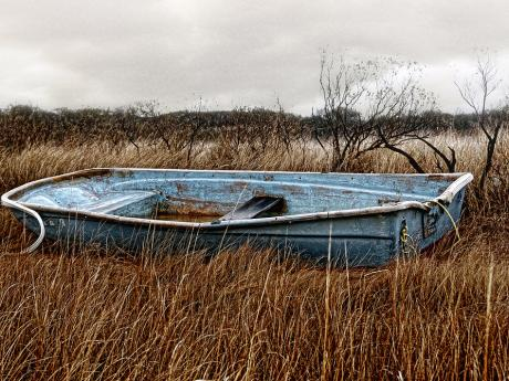 A photograph of a rusty rowboat in a grassy field