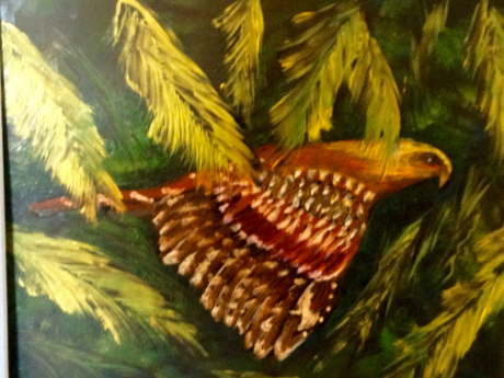 A painting of a hawk flying through a forest