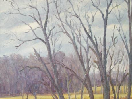 A painting of bare trees in a gold field in late autumn