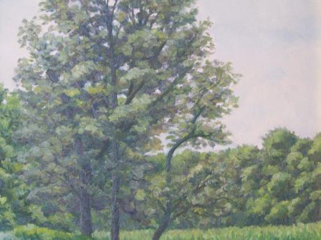 A painting of a tree in a field on a hazy day