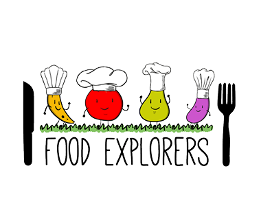 Food Explorers logo includes animated fruit and vegetables wearing chef hats.