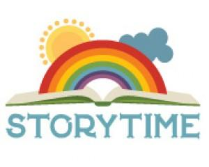 Storytime clipart with an open book with a rainbow, sun and cloud.