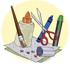 Clipart image of assorted craft materials.