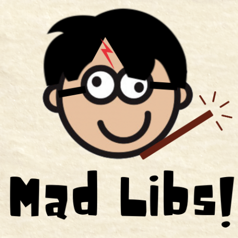 "An image of the Mad Libs goofy face logo that has been altered to look like Harry Potter with the text ""Mad Libs!"""