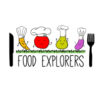 Food Explorers logo featuring a knife, fork, and cute fruits and vegetables in chef hats
